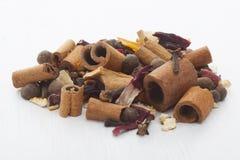 Fruity hot wine seasoning on white background Royalty Free Stock Photo