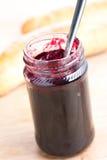 Fruity jam in glass jar. Photo shot of fruity jam in glass jar Royalty Free Stock Photos