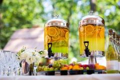 Fruity lemonade, fruit refreshing drink, orange juice, catering, Royalty Free Stock Photo