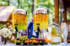 Fruity lemonade, fruit refreshing drink, orange juice, catering, Royalty Free Stock Photography