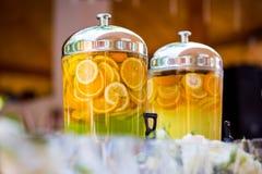 Fruity lemonade, fruit refreshing drink, orange juice, catering, Stock Photo