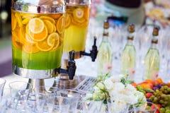Fruity lemonade, fruit refreshing drink, orange juice, catering, Royalty Free Stock Images