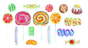 Fruity lollipops and sweet chocolate candies of bright colors Stock Photo