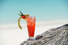 Fruity mocktail drink on beach Royalty Free Stock Image