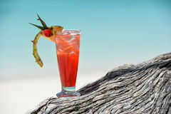 Fruity mocktail drink on beach Royalty Free Stock Images