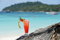 Fruity mocktail drink on beach Royalty Free Stock Photography