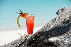 Fruity mocktail drink on beach Royalty Free Stock Photo