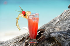 Fruity mocktail drink on beach Royalty Free Stock Photos