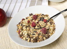 Fruity muesli in white bowl Royalty Free Stock Photo