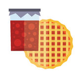 Fruity natural jar of jam and fruit pie cartoon flat vector illustration. Royalty Free Stock Image