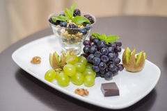 Fruity, nutty Breakfast in a five star hotel room. stock images