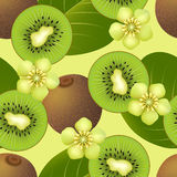 Fruity seamless pattern with kiwi fruit. Fruity texture with whole kiwi fruit, his sliced segment, leaves and flowers. Vector illustration vector illustration