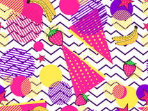 Fruity seamless pattern with memphis elements and pop art style. Striped background. Vector. Illustration royalty free illustration