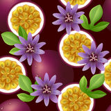 Fruity seamless pattern with passion fruit and flo. Fruity texture with passion fruit, leaves and flowers on dark purple background. Vector illustration stock illustration