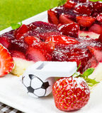 Fruity strawberry cake with referee - Whistle Stock Photos
