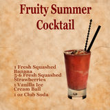 Fruity summer cocktail recipe Royalty Free Stock Photos