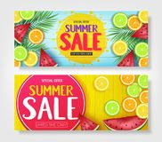 Fruity Summer Sale Colorful Banners with Watermelon, Orange, Lime and Lemon Tropical Fruits. In Blue and Yellow Wooden Background Vector Illustration. For Stock Image