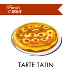 Fruity tarte tatin from french cuisine isolated illustration. Fruity sweet tarte tatin from french cuisine isolated vector illustration on white background. Kind Royalty Free Stock Images