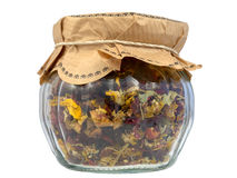 Fruity tea in a jar Stock Images