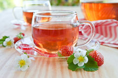 Fruity tea with strawberries Royalty Free Stock Image