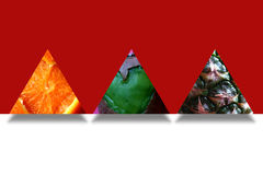 Fruity textures inside three abstract triangles Stock Photos