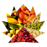Fruity textures inside triangles arranged as an opened fan Stock Photos