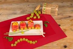 Fruity train desert Stock Photo
