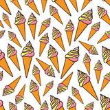 Fruity and vanilla ice cream seamlss pattern Royalty Free Stock Images
