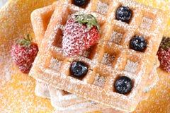 Fruity Waffles Closeup Stock Photo