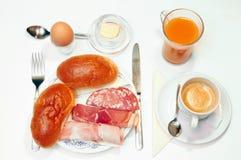 frukost över white Arkivfoton