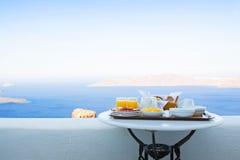 Frukost för två med en sikt Fotografering för Bildbyråer