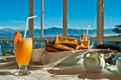 Frukost i bergen Arkivfoto
