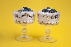 Frukost i den glass koppen Två exponeringsglas av granolahavremjöl, med torkad frukter, blåbär och yoghurt Isoalted på gul bakgru arkivbilder