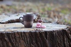 Frukost i natur Kupa av kaffe royaltyfri bild