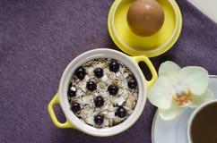 Frukost i s?ng den bästa sikten på ett magasin av havremjölet i en gul kruka, mysli med nya blåbär, ägget, kaffe med mjölkar närb royaltyfri bild