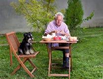 Frukost i trädgård Arkivbilder