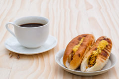 Frukost med bröd för bagare Vietnamese eller Vietnam och svartcoff Royaltyfri Fotografi
