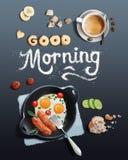 Frukost med förvanskat ägg och kaffe Royaltyfri Bild
