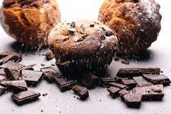 Frukost med muffin och choklad Muffin med stycken av choklad och socker Royaltyfri Fotografi