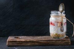 Frukost med mysli och yoghurt arkivbilder