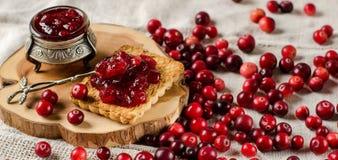 Frukost med tranbär, driftstopp och kex royaltyfri bild
