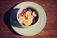 Frukost och frukt!! en trevlig dag Arkivbild
