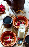 frukost två Svart te och mysli Mat som lokaliseras på en wicke Royaltyfri Bild