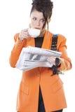 frukostaffärskvinna s arkivfoto