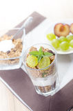 frukosten består av sädesslag, bär frukt, mjölkar, yoghurten Royaltyfri Foto