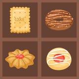 Frukosten för sikten för kakavektorkakor bakar den bästa hemlagade sött för bagerikakan för mat den ljusbruna illustrationen för  stock illustrationer