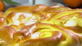 Frukosten med s?tsaken bakade bullar med franska lagar mat med gr?dde lager videofilmer