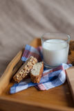 Frukostera att bestå av bröd och mjölka Royaltyfri Foto