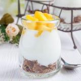 Frukostera efterrätten med kliflingor, den vanliga yoghurten och mango, fyrkant Arkivfoton