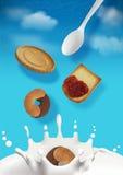 Frukostera illustrationen av himlen med moln Arkivbild